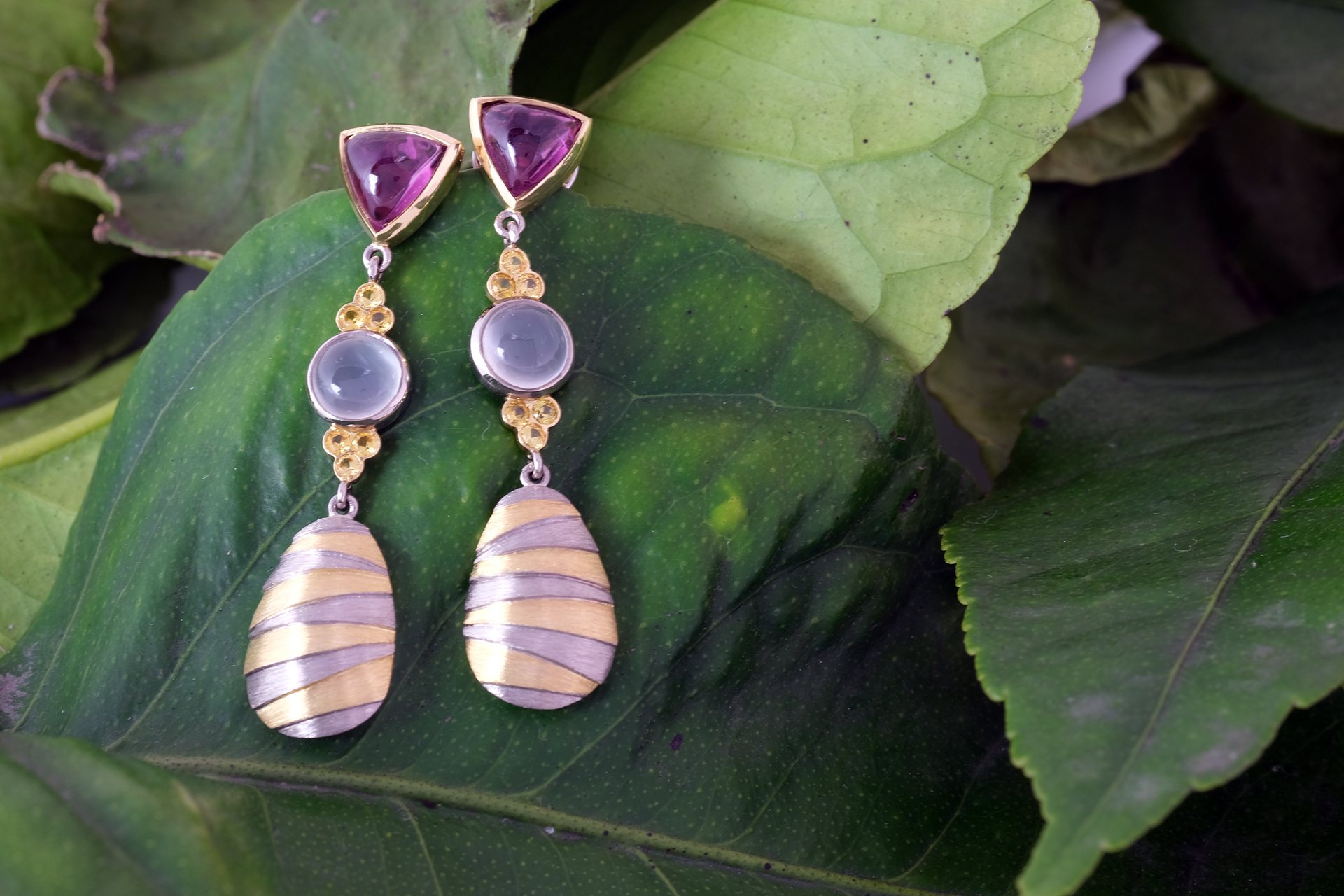 Gold, Tourmaline, Moonstone and Sapphire Drop Earrings