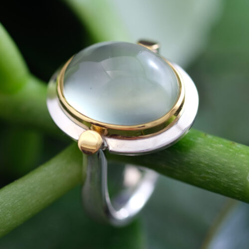 Silver and Gold Set Green Quartz Cabochon Ring