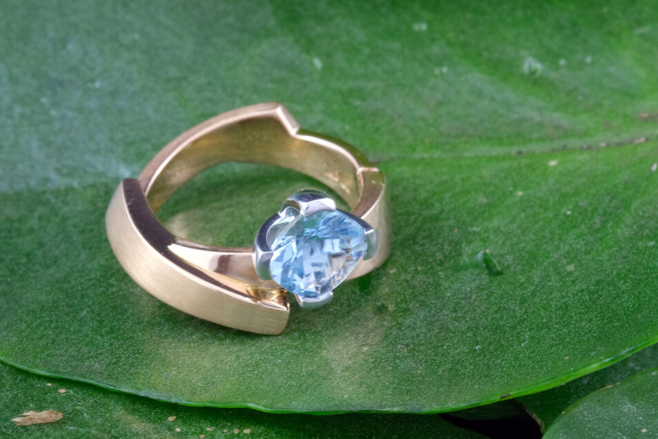 Aquamarine Cushion Cut Rose Gold Ring