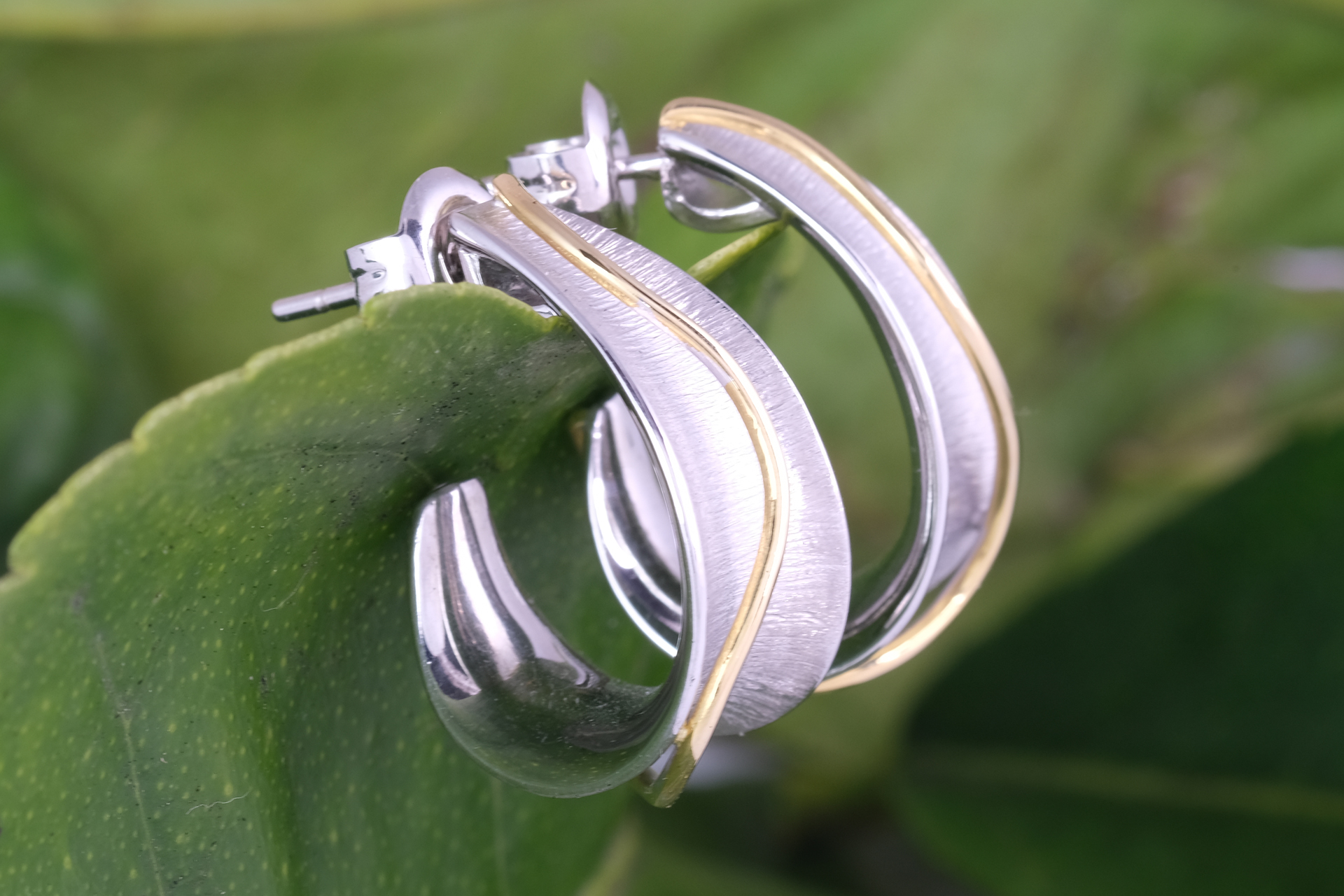 Convex White and Yellow Gold Hoop Earrings