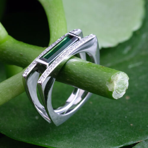 Green Baguette Tourmaline and Diamond Ring
