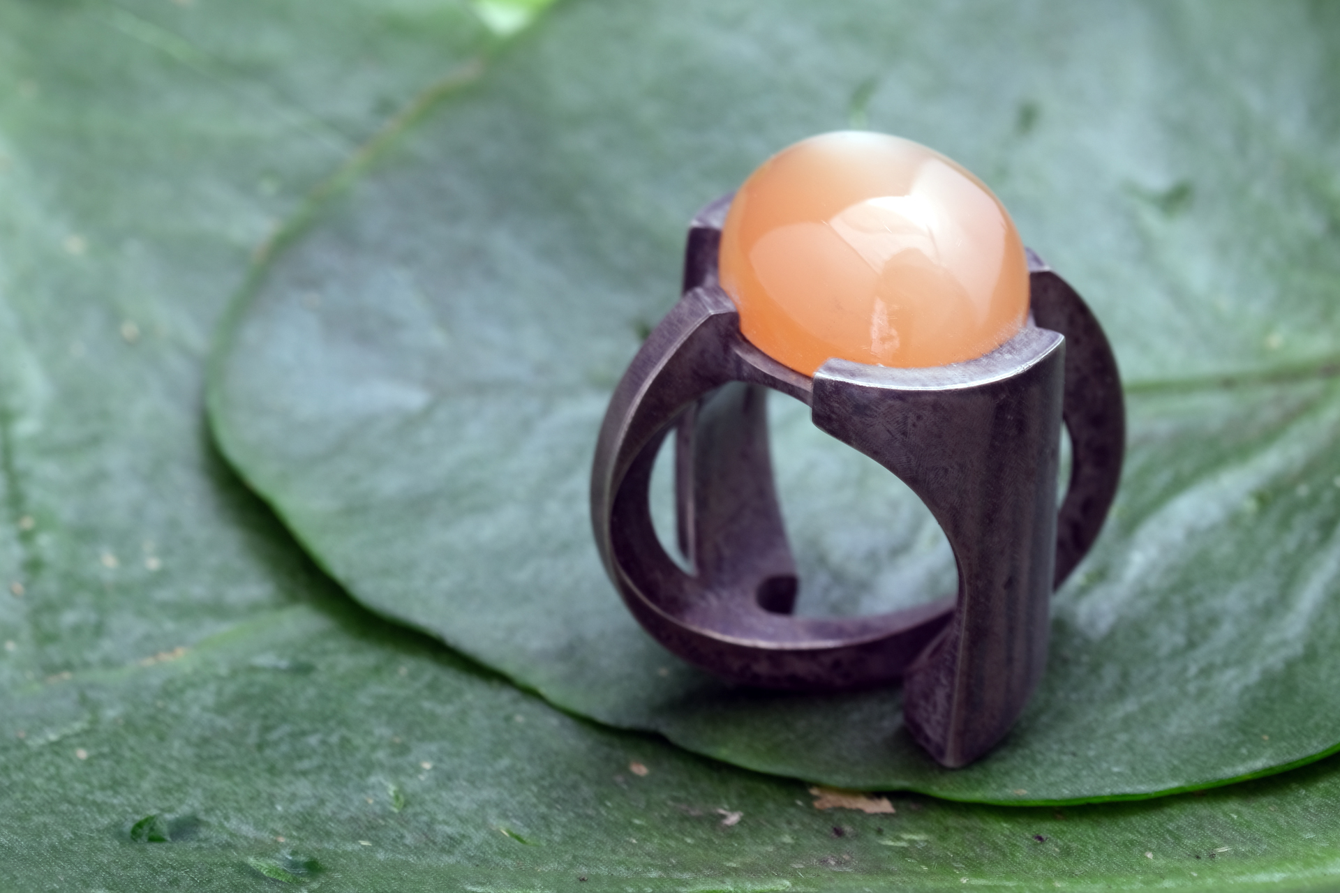 Orange Moonstone Orbit Ring